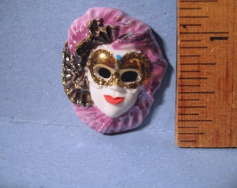 Gorgeous VENETIAN Carnival MASK  -  French Feve Feves Porcelain Figurines King Cake Baby Doll House Miniatures Charm Figurine R80