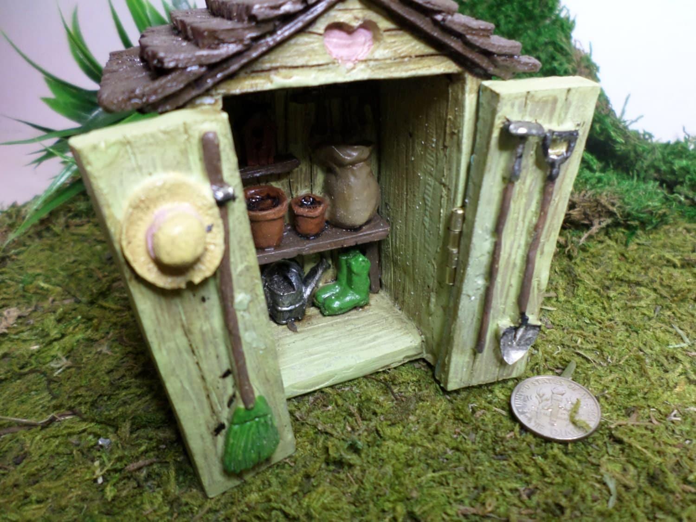 Potting shed fairy garden miniature gardening fairy garden kit for Mini potting shed
