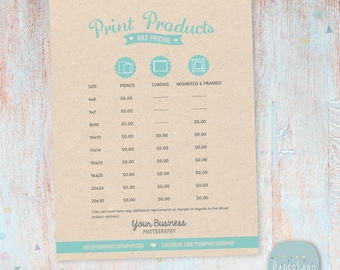 Photography Price List - Printed Products - Photoshop template - IP005 - INSTANT DOWNLOAD