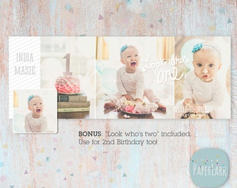 Cake Smash Facebook Timeline  - First Birthday -  Photoshop Template -  HD001 - INSTANT DOWNLOAD