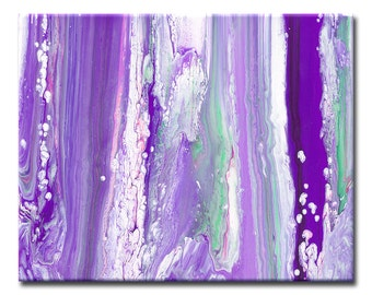 Purple Home Décor Wall Art // Purple Wall Décor // Large Purple, Green, White Abstract Flowing Artwork