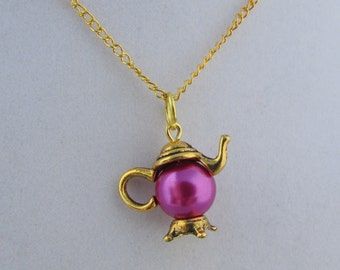 Hot Pink Gold Teapot 16in Charm Necklace (N161)