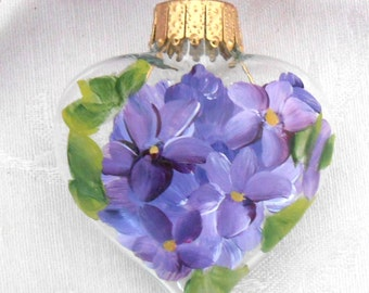 Violets Heart Ornament ~ Handpainted Violets ~ Christmas Ornament ~ Cottage Chic