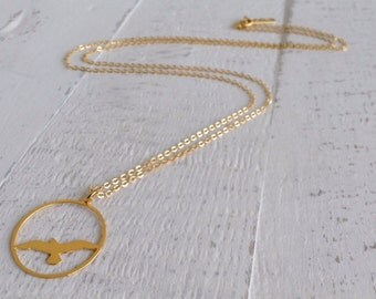 Long Gull Necklace, Sea Gull Silhouette, Long Necklace, Gold Necklace, Minimalist Necklace, Marine life Jewelry, Nature, sea life