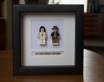 Indiana Jones Framed Mini Figures Indiana & Marion made from Lego