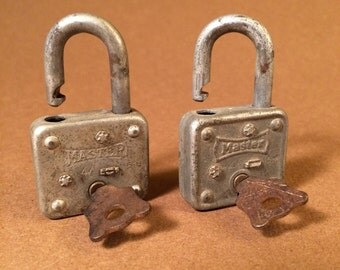 Two Masterlock 44 5-H Peanut or Gumball Machine Locks with Keys