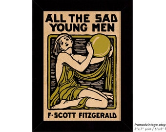 All The Sad Young Men Framed Print, F Scott Fitzgerald, Art Deco, Cleonike Damianakes, Jazz Age, Wall Decor, Interior Decor