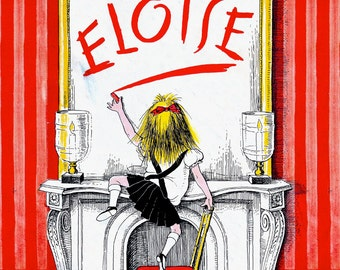 Eloise Framed Print, Childs Room Framed Print, NYC Art Print, Kay Thompson, Pink White Black, Plaza Hotel Framed Art, Wall Decor, Wall Art