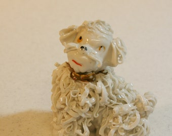 Retro spaghetti poodle figurine-curly linguini pup-big whiskers-gold collar