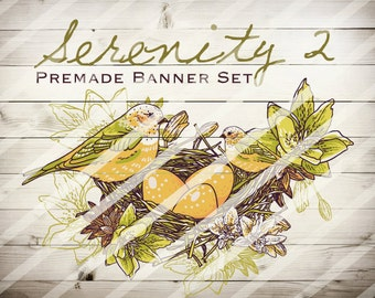"""Banner Set - Shop banner set - Premade Banner Set - Graphic Banners - Facebook Cover - Avatars - Bisiness Card - """"Serenity 2"""""""