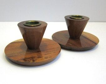 Vintage Myrtlewood Modern Candlestick Candle Holders - Coos Bay Oregon