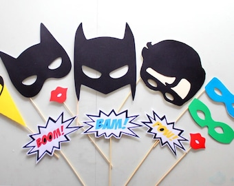 11pc * Superhero Party Photo Booth Props/Photobooth Props