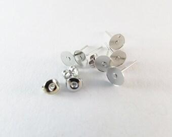 D-00271 - 20 Ear stud bases nickel color 6mm nickel free