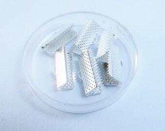 D-02078 - 10 Ribbon ends  silver color 16x18x3mm