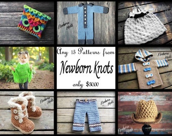 Any 15 Individual  CROCHET PATTERNS from NewbornKnots
