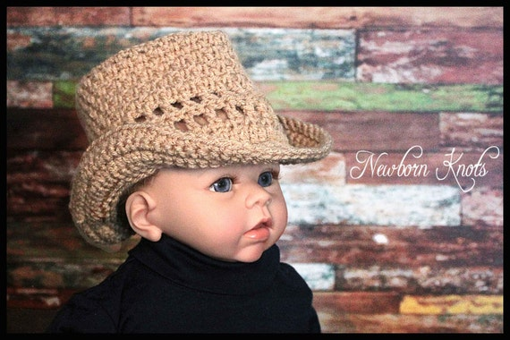 CROCHET PATTERN Straw Look Baby Cowboy Hat. Pattern number ...