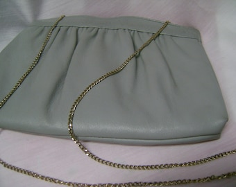 Vintage Purse Leather Gray with Gold Chain Clutch Bag Andt
