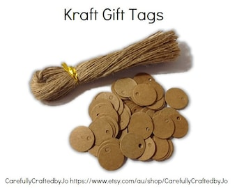 25, 50,100,150 Extra Small Kraft Cirle Gift Tags Die Cut 2cm & Twines DIY Gift Tags - wedding, favours,gift tags,goodie bag tags, price tags