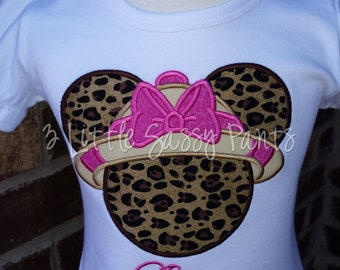 Minnie Mouse Safari Embroidered Shirt- Minnie Mouse Applique- Custom Disney Shirt- Vacation- Animal Kingdom Shirt