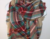 Plaid blanket scarf plaid scarves oversized multi color camel scarf blogger large scarf Zara inspired Soft plaid blanke scarf in camel C1