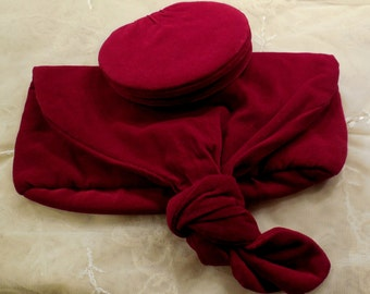 Vintage Shiseido Red/Burgundy Velvet Cosmetic Bag and Matching Mirror