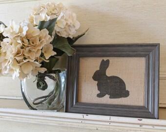Easter Bunny 5x9 Burlap Print