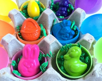 Easter crayons in eggs set - Great candy alternative gift for Easter basket - assorted egg, bunny, duck and spring crayons