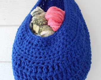 Royal Blue, Medium sized, Crochet Basket, Kitchen Basket, crafts, toys,yarn storage, storage, kitchen storage,Home Decor,Fruit Basket,