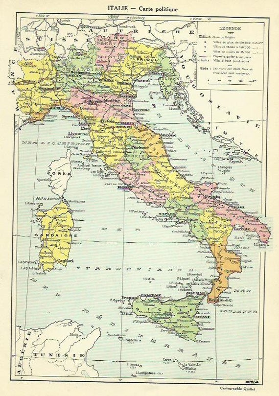 Italy Italian Political Antique Map Europe Cartography - Political map of italy