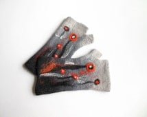 Felted mittens, Hand felted fingerless mittens, felted long gloves, felted wirst warmers, gray orange gloves, mittens