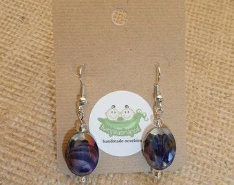 Purple Oval Bead Dangle Earrings