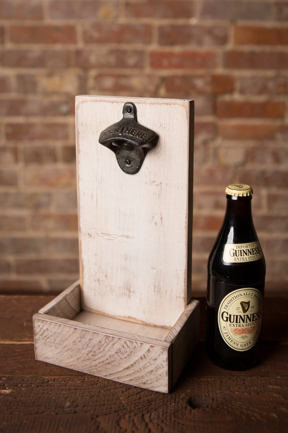 beer bottle opener and cap catcher rustic white. Black Bedroom Furniture Sets. Home Design Ideas