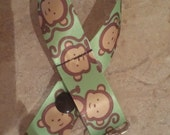 Monkey Green & Brown Ribbon Pacifier Binky Clip
