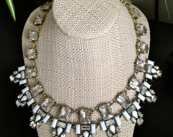 Royals White Stone Rhinestone Jeweled Statement Necklace