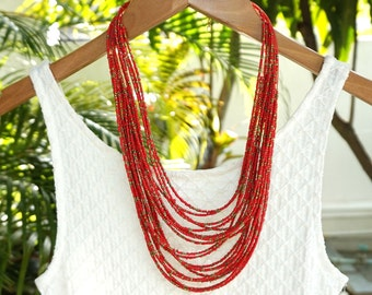 Red bib necklace, red statement necklace