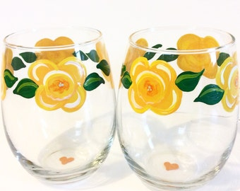 Yellow Daffodil Flowers Stemless Wine Glasses