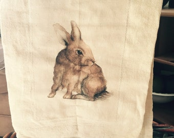 Cutest little Bunny 100% cotton flour sack tea towel/ kitchen towel