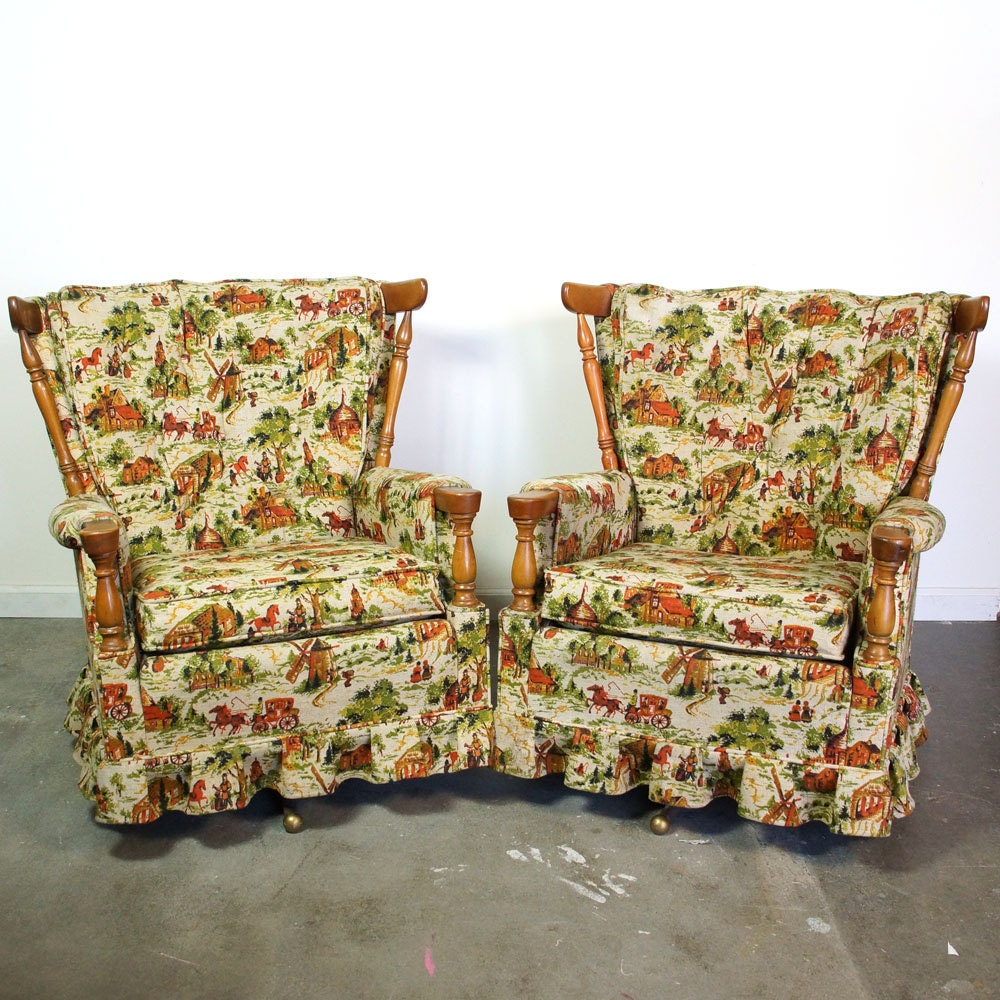 two mid century swivel rockers pair of matching upholstered