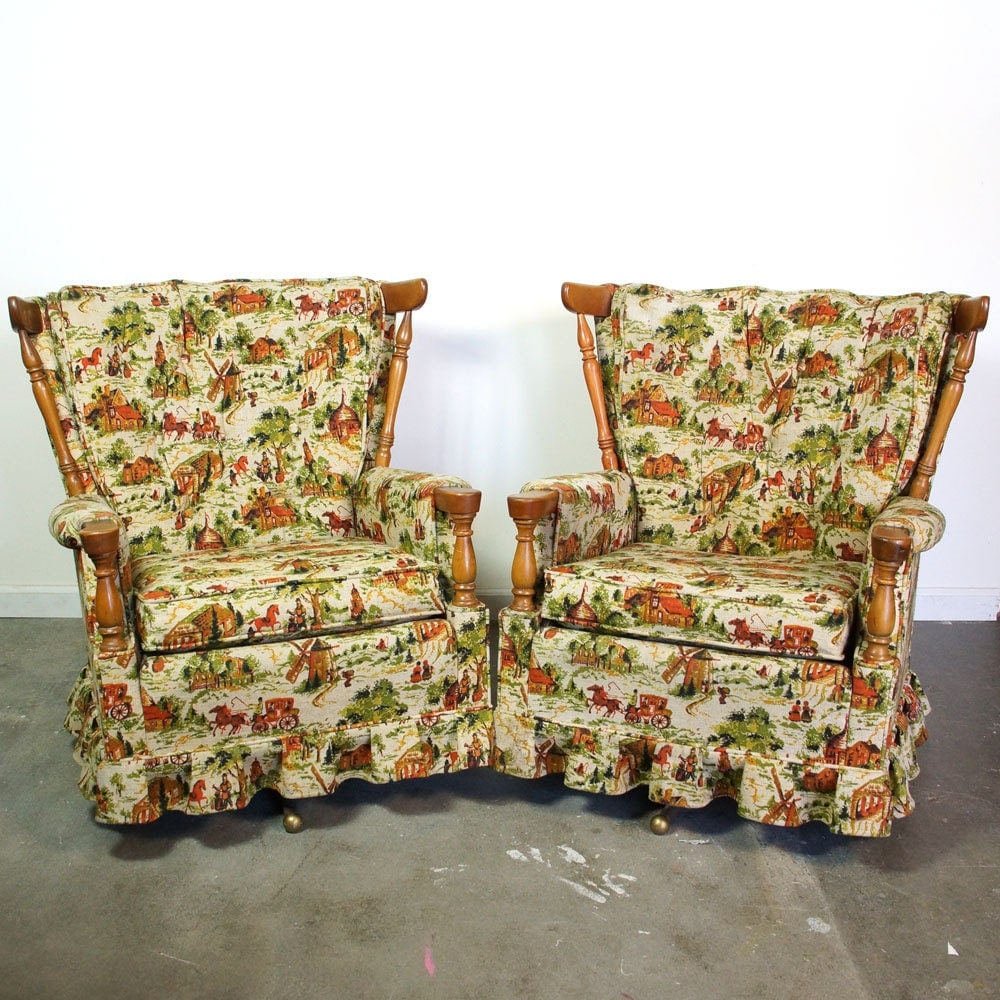 Two Mid Century Swivel Rockers / Pair of Matching Upholstered