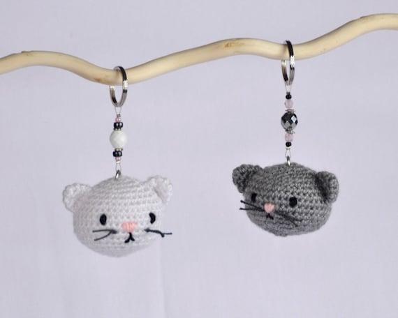 Amigurumi Keychain Loop : Cat amigurumi key ring cute handmade crochet animal by ...