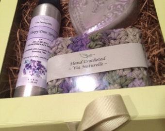 SALE! Beautiful Lavender gift set in a keepsake box w/ribbon. Co-Worker Gift, Bedtime Ritual Gift Set.