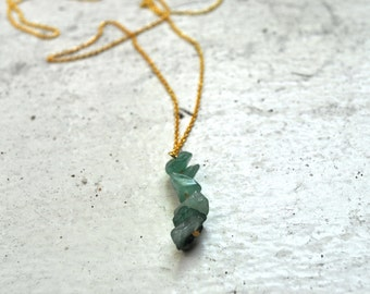 green aventurine drop charm necklace