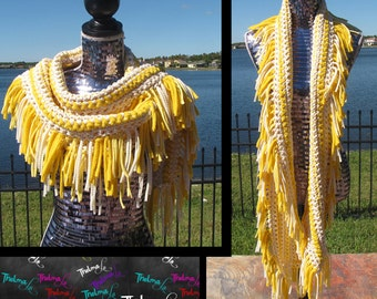 Yellow Fringe Scarf, Tee Shirt Scarf, Crochet, Handmade,Soft, One of a Kind,Unique,Custom Made