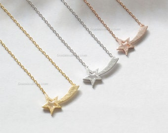 Silver Shooting Star Necklace, star necklace in Silver, bridesmaid gifts, birthday gifts, everyday dainty necklace, wedding gifts