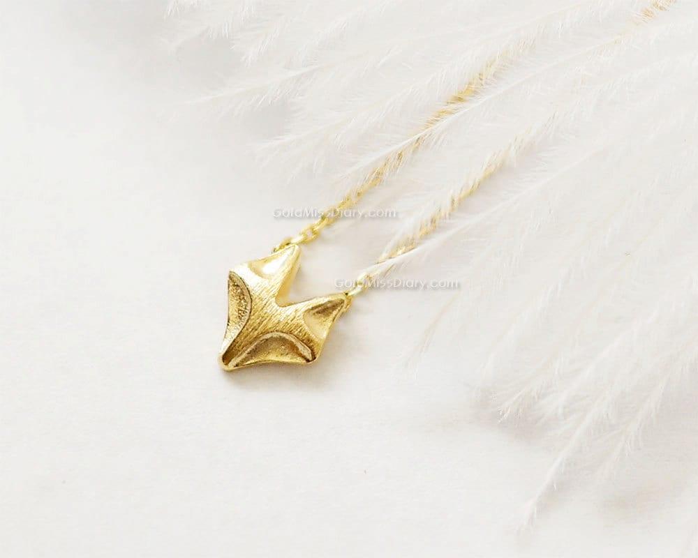 Tiny Fox Necklace In Gold Fox Necklace Fox Jewelry