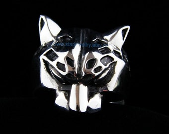 3D Leopard head  Ring --925sterling silver ring