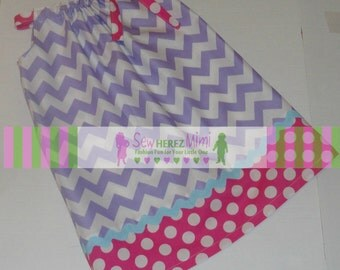 Lavender Medium Chevron Hot Pink Dot Pillowcase Dress Infant 3 4 5 6 7 8