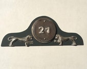 Pewter Georgian style Metal house numbers with lions, OOAK with dark grey Trespa back, up to 3 x nos