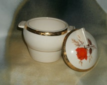 Vintage Triumph American Limoges Vermillion Rose Sugar Bowl 22K Gold Trim