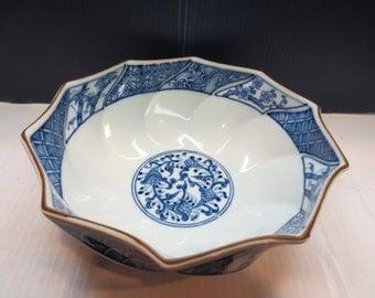 Blue & White Porcelain Scalloped Brown Rim Bowl